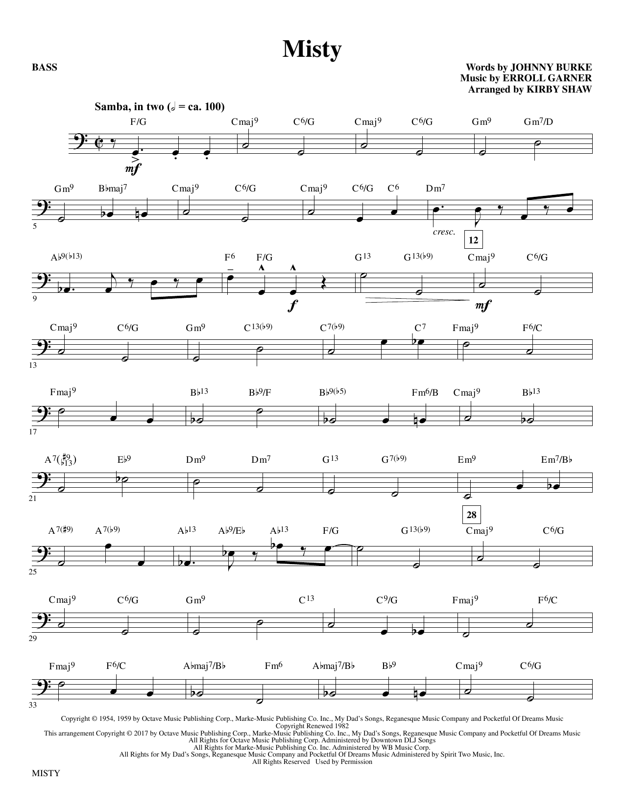 Misty - Bass Sheet Music