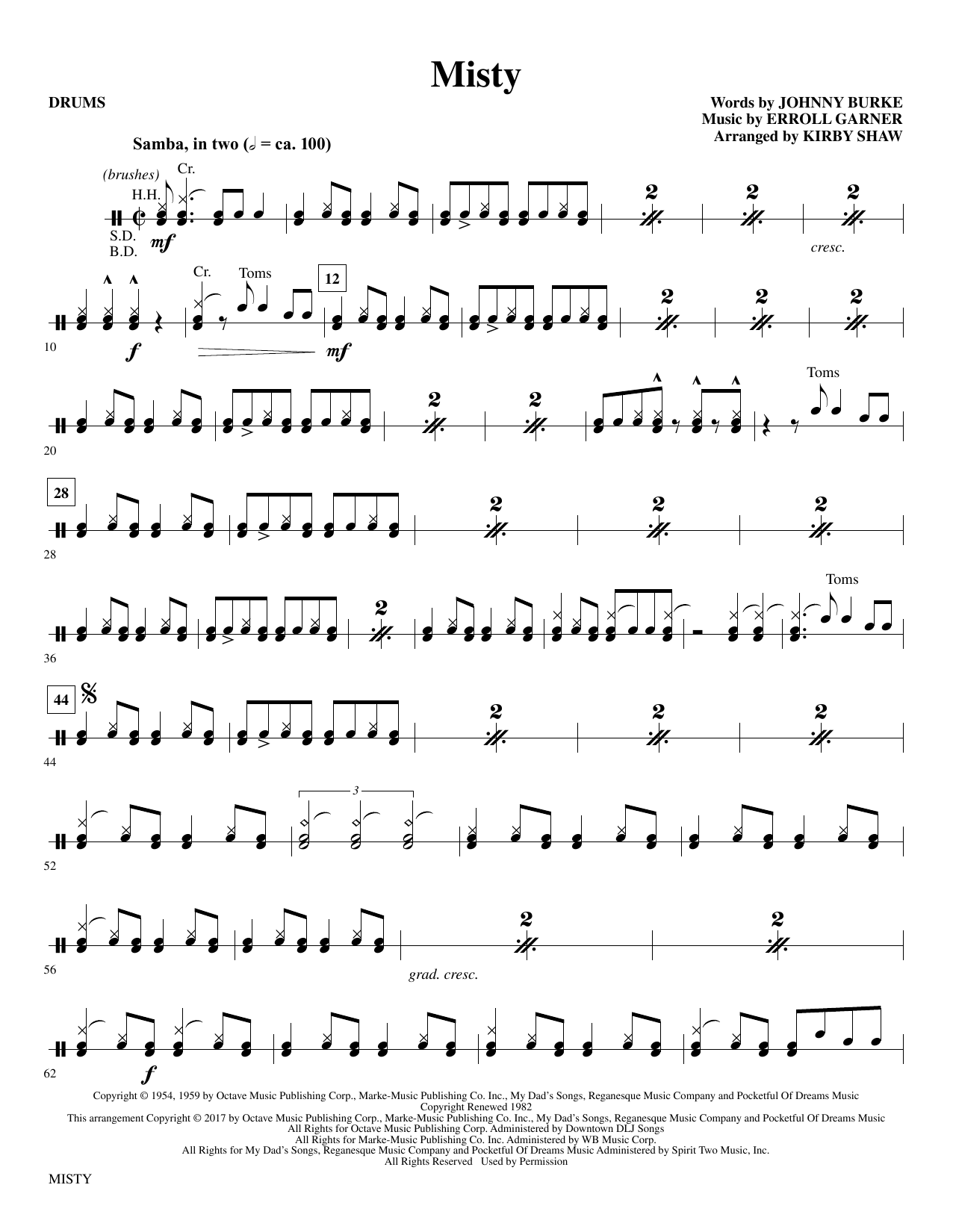 Misty - Drums Sheet Music