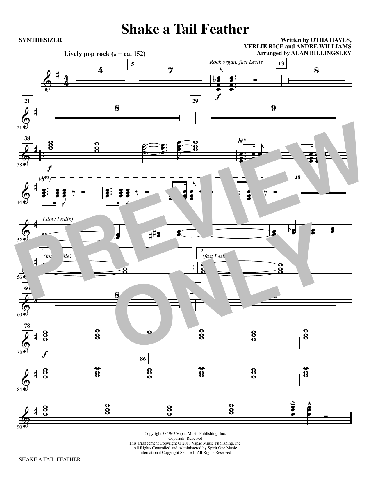 Shake a Tail Feather - Synthesizer Sheet Music