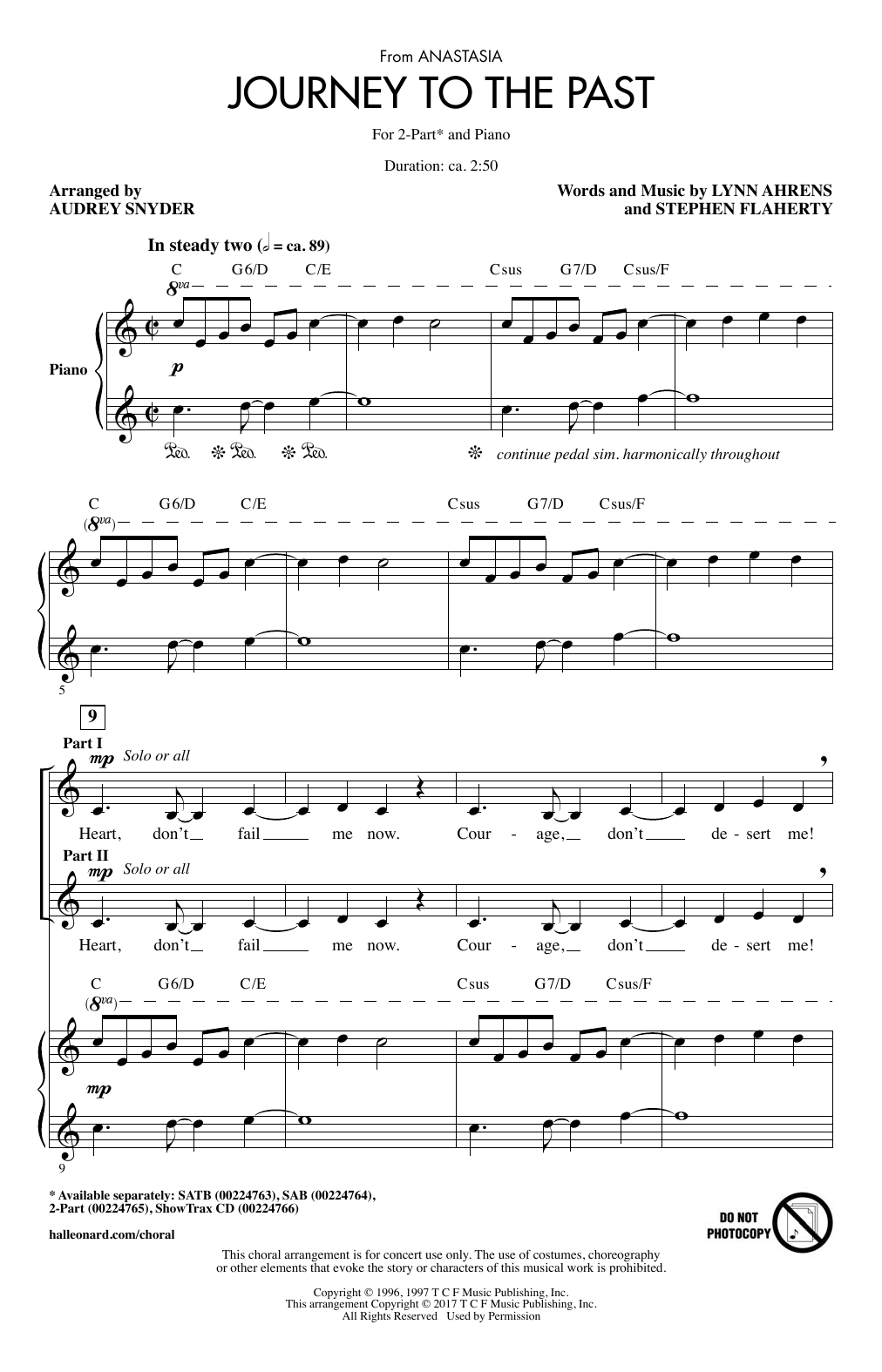 Journey To The Past Sheet Music