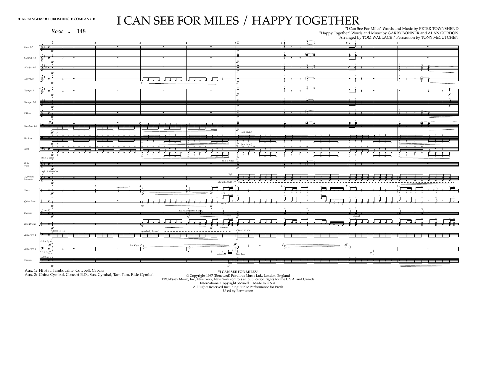 I Can See for Miles/Happy Together - Full Score Sheet Music