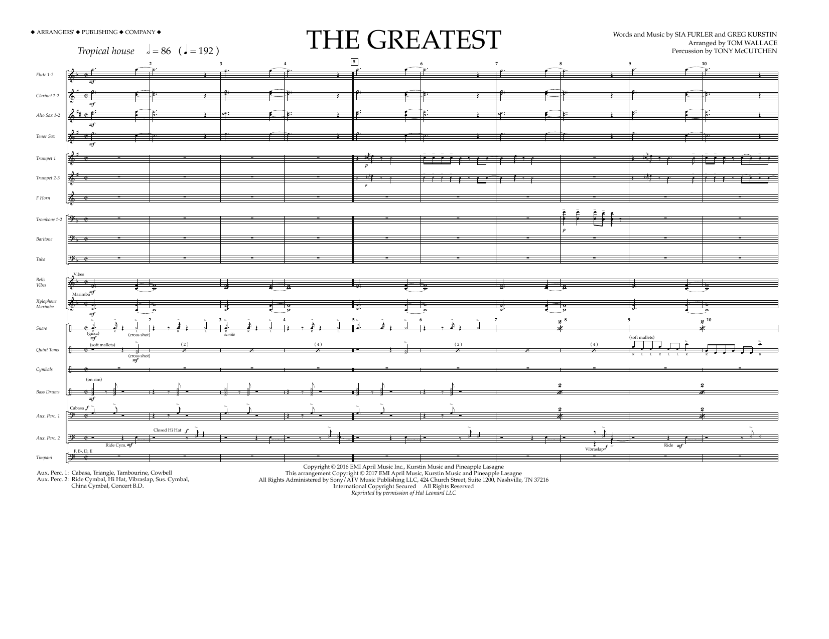 The Greatest (COMPLETE) sheet music for marching band by Tom Wallace, Greg Kurstin, Sia and Sia Furler. Score Image Preview.