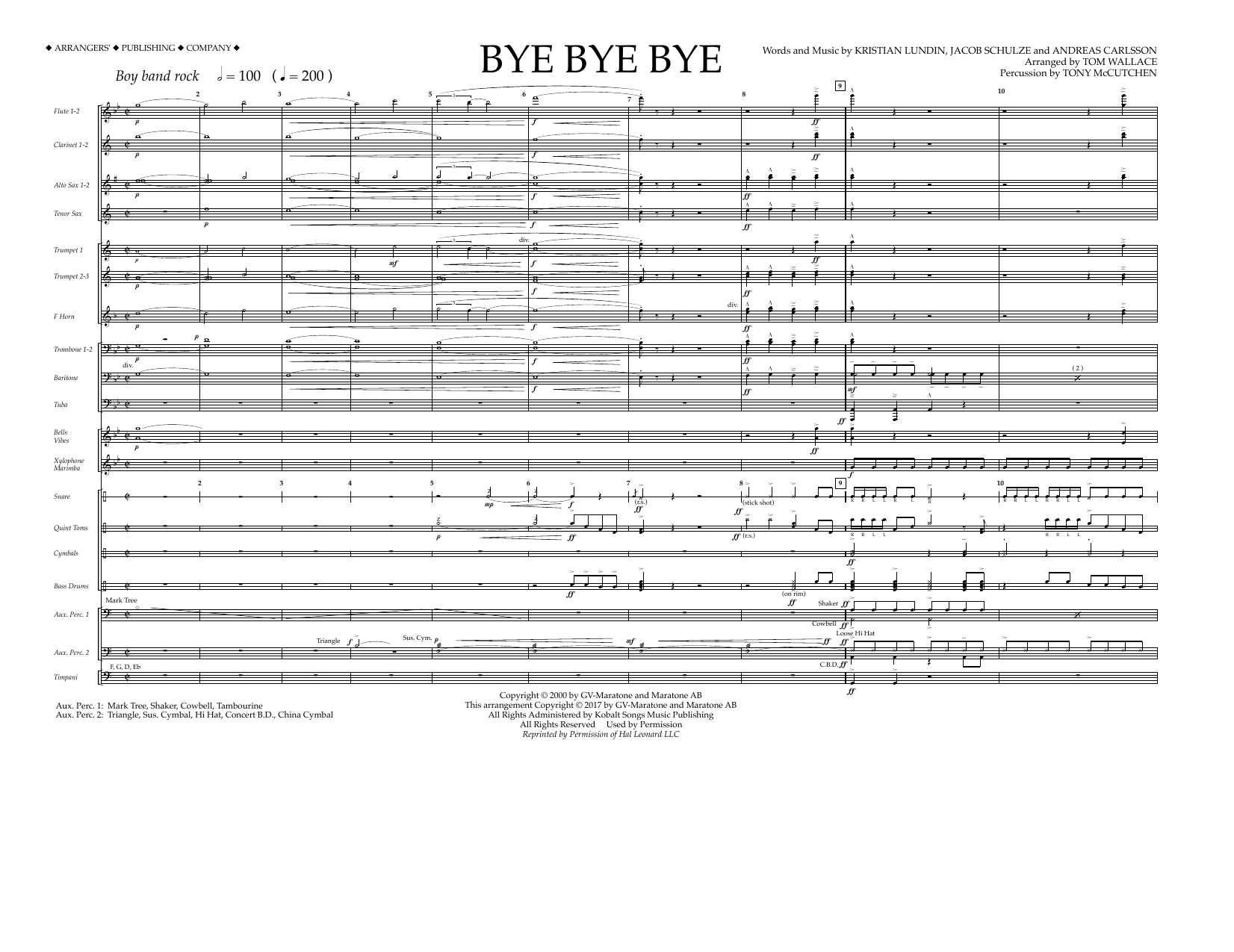Bye Bye Bye (COMPLETE) sheet music for marching band by Tom Wallace, Andreas Carlsson and Kristian Lundin. Score Image Preview.