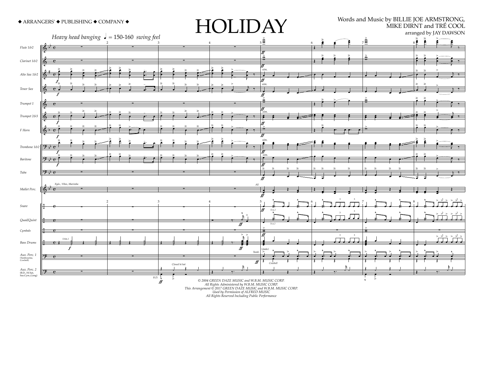 Holiday - Full Score Partition Digitale