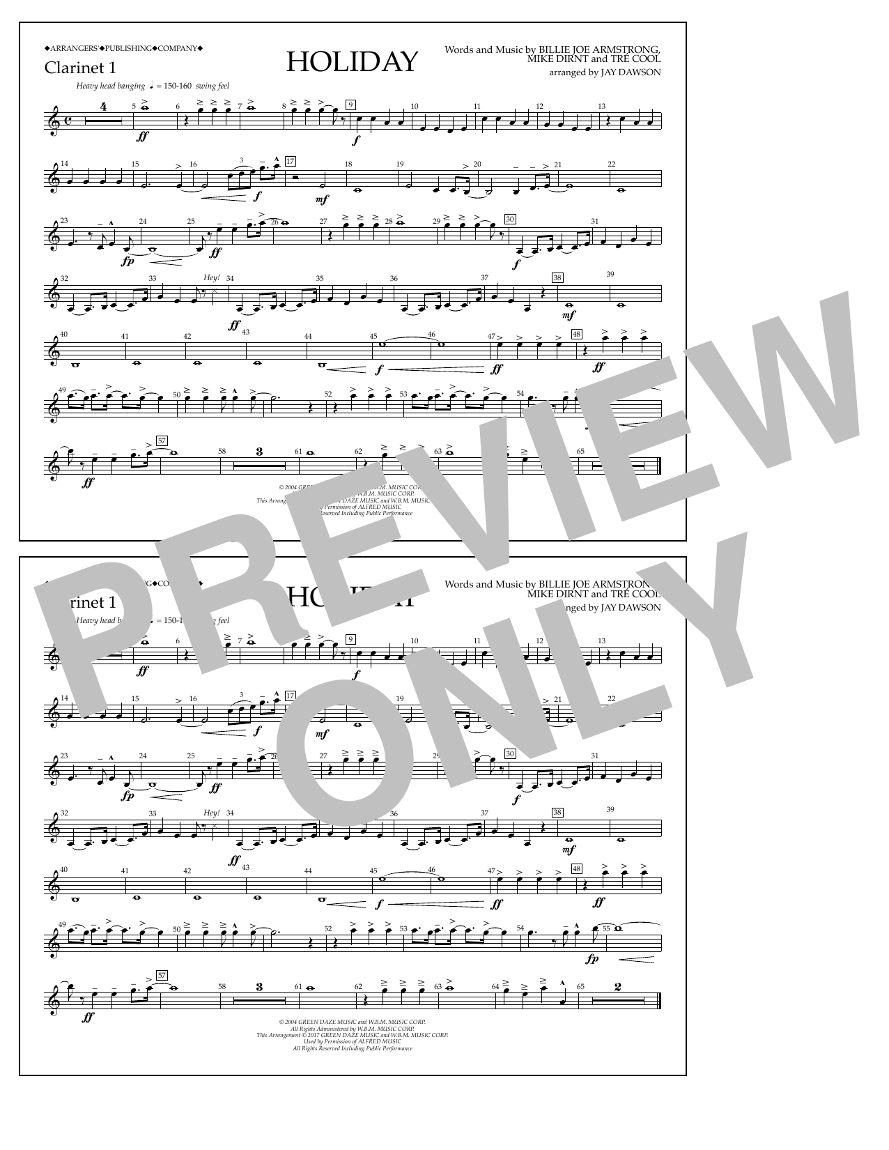 Holiday - Bb Clarinet 1 Sheet Music