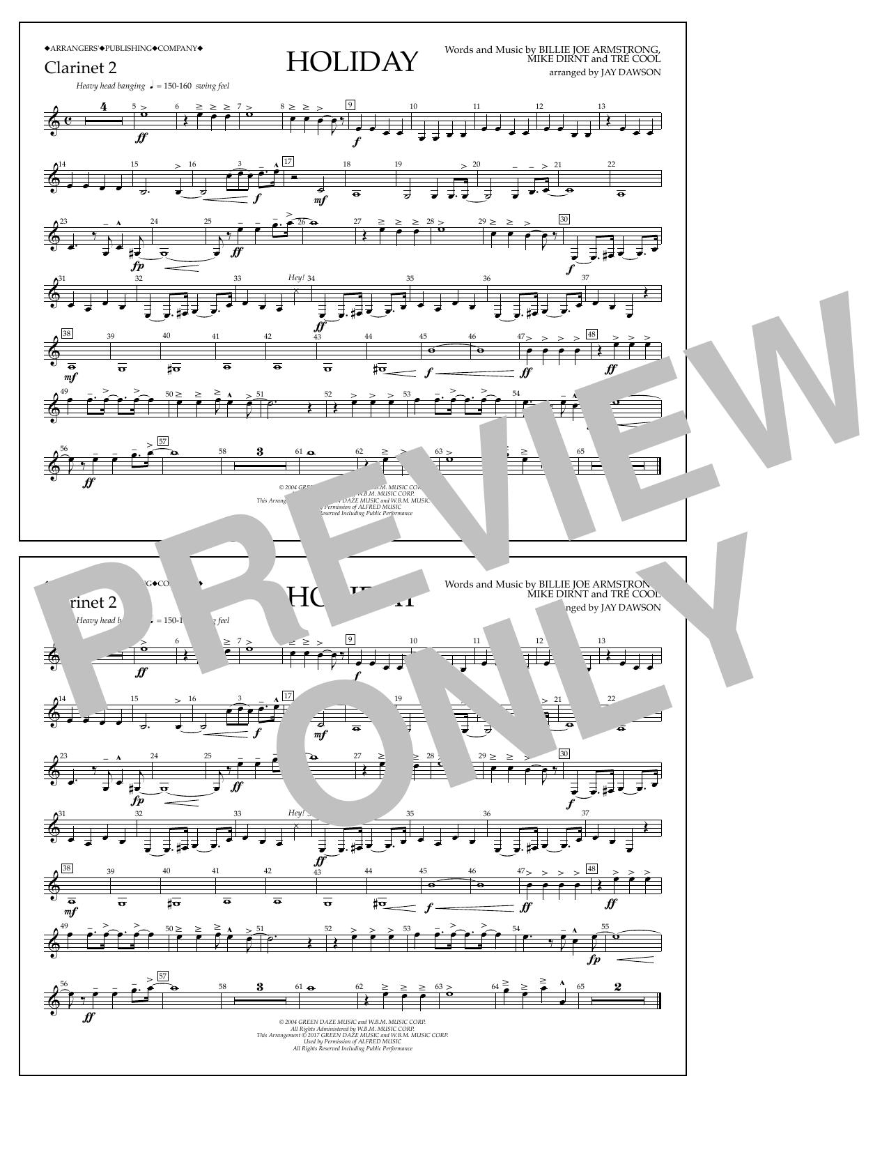 Holiday - Bb Clarinet 2 Sheet Music