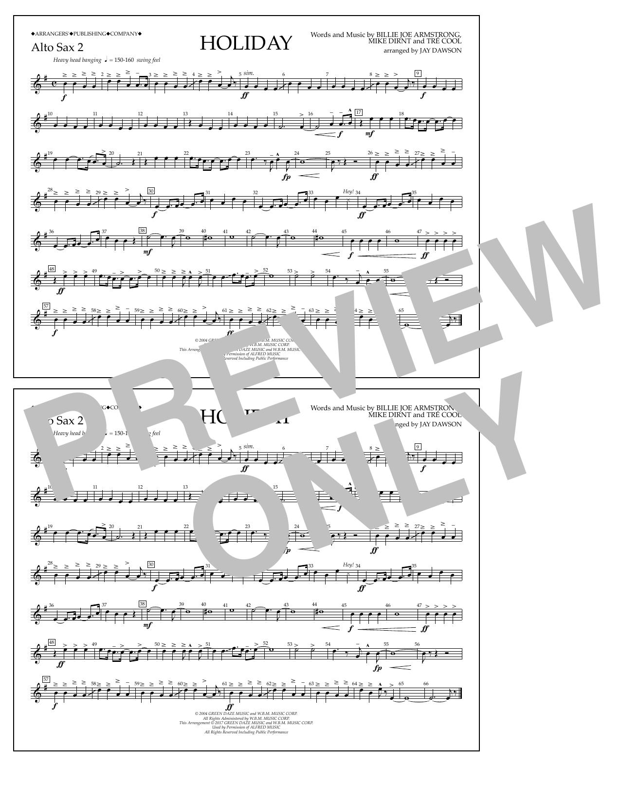 Holiday - Eb Alto Sax 2 Sheet Music
