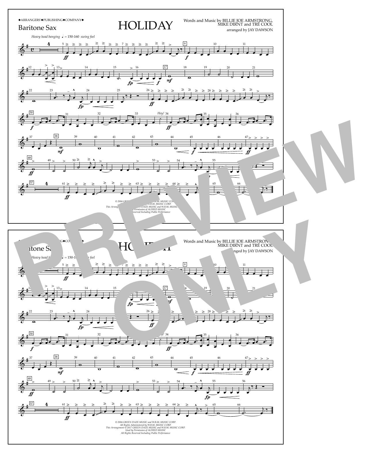 Holiday - Eb Baritone Sax Sheet Music