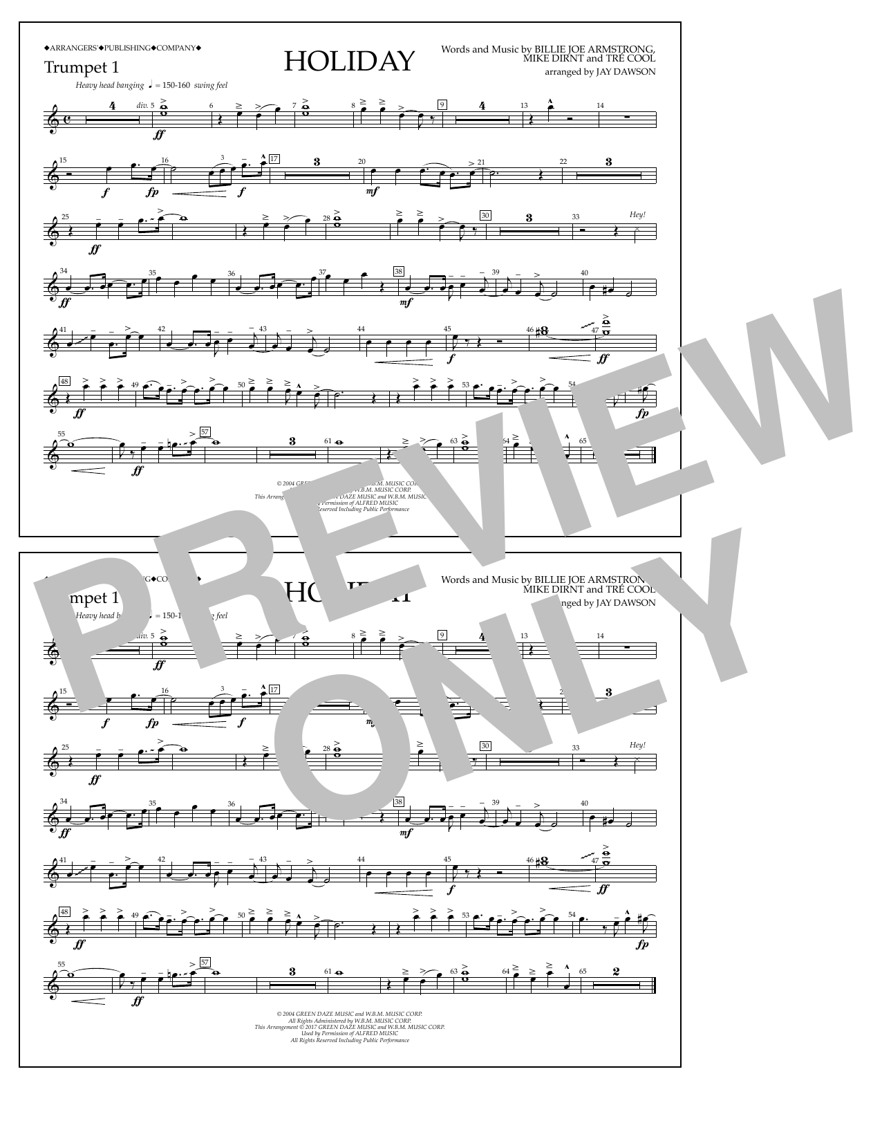 Holiday - Bb Trumpet 1 Sheet Music