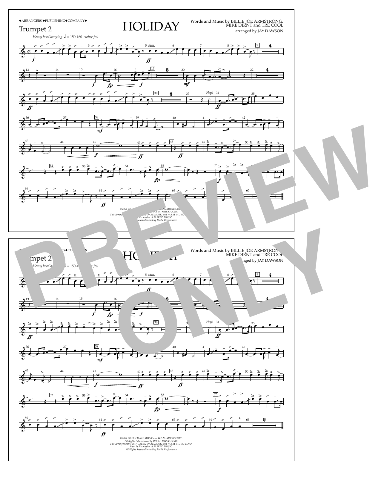 Holiday - Bb Trumpet 2 Sheet Music