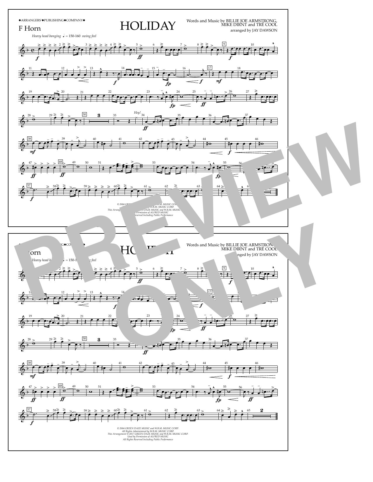 Holiday - F Horn Sheet Music