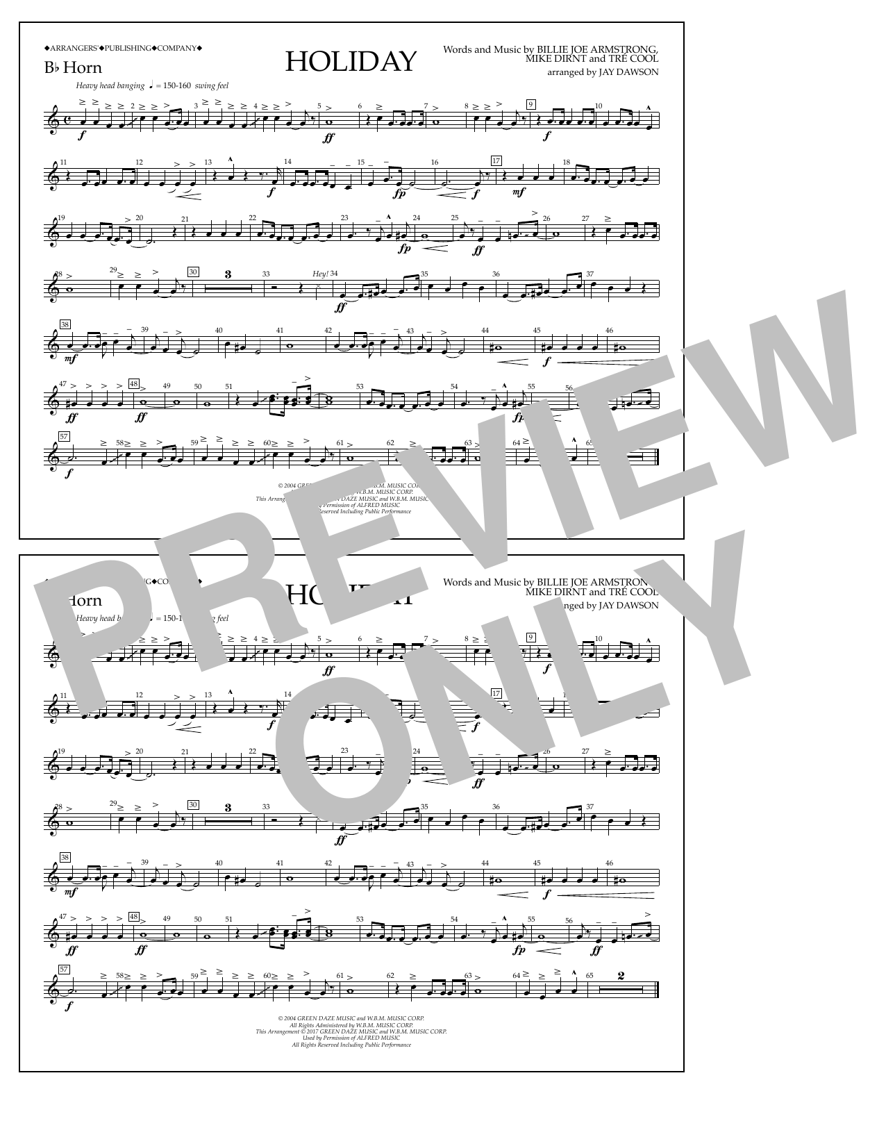 Holiday - Bb Horn Sheet Music