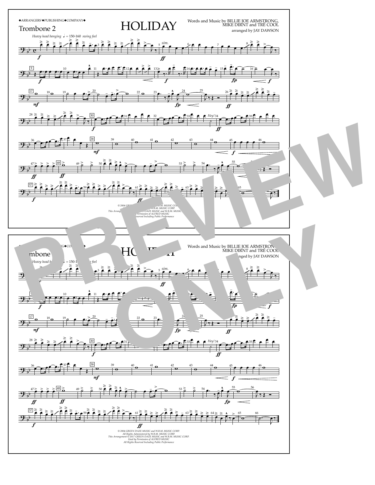 Holiday - Trombone 2 Sheet Music