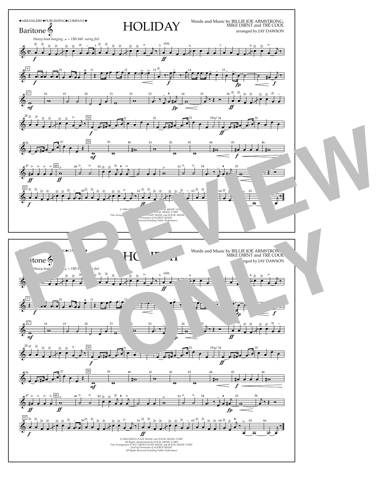 Holiday - Baritone T.C. Partition Digitale