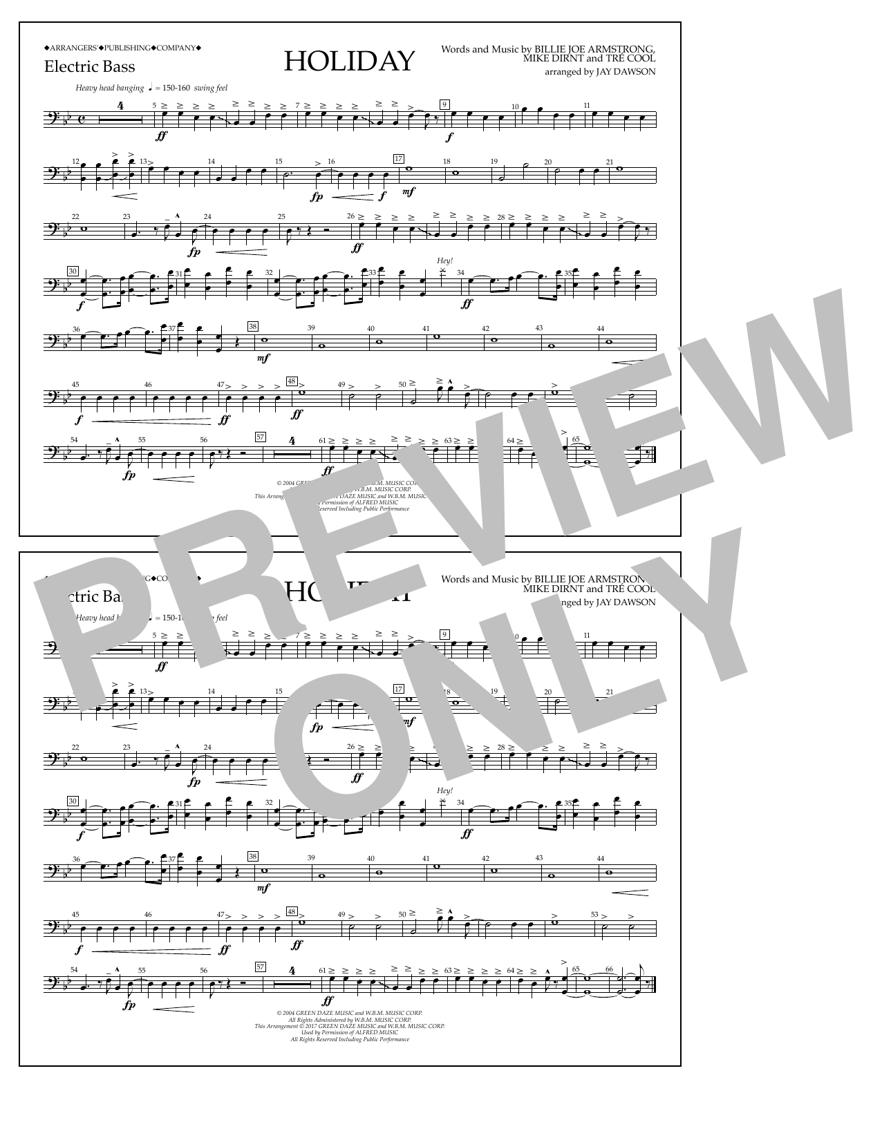 Holiday - Electric Bass Sheet Music