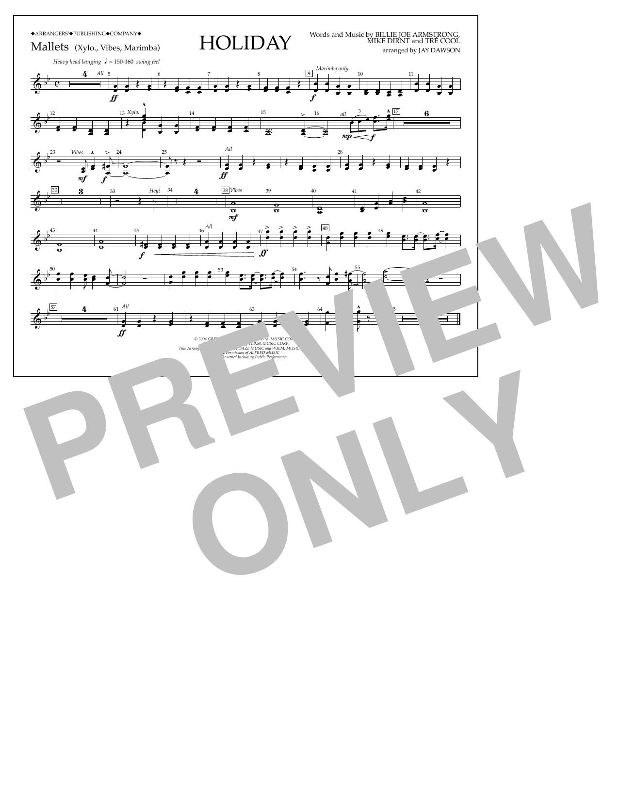 Holiday - Mallet Percussion Sheet Music