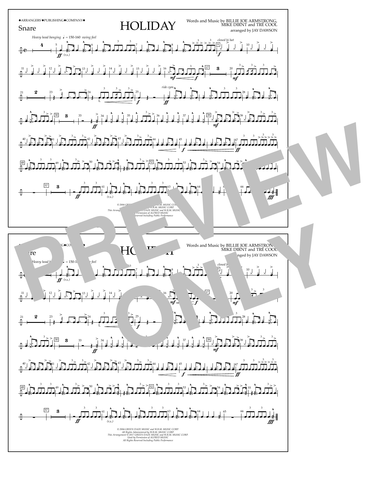 Holiday - Snare Drum Sheet Music