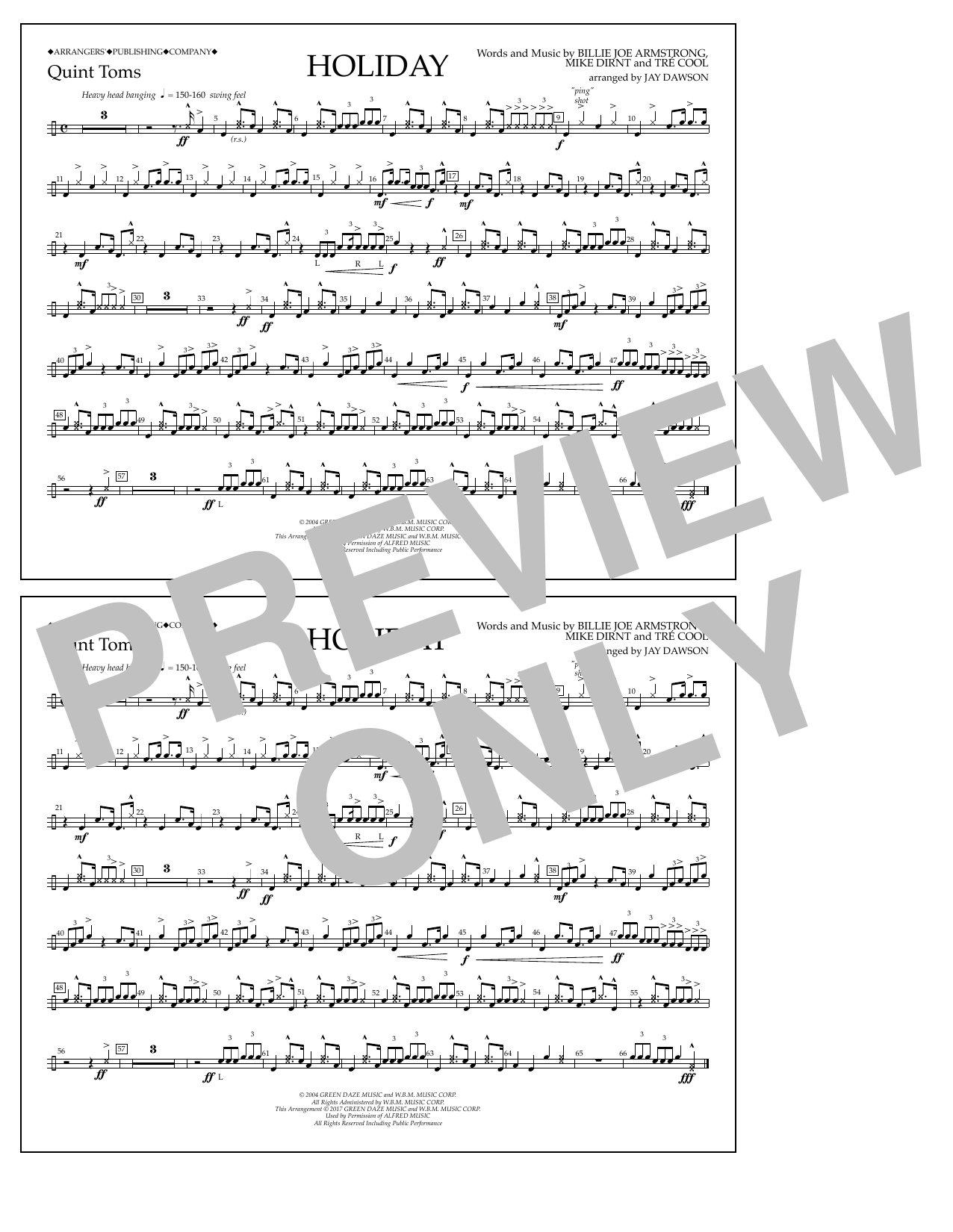 Holiday - Quint-Toms Sheet Music