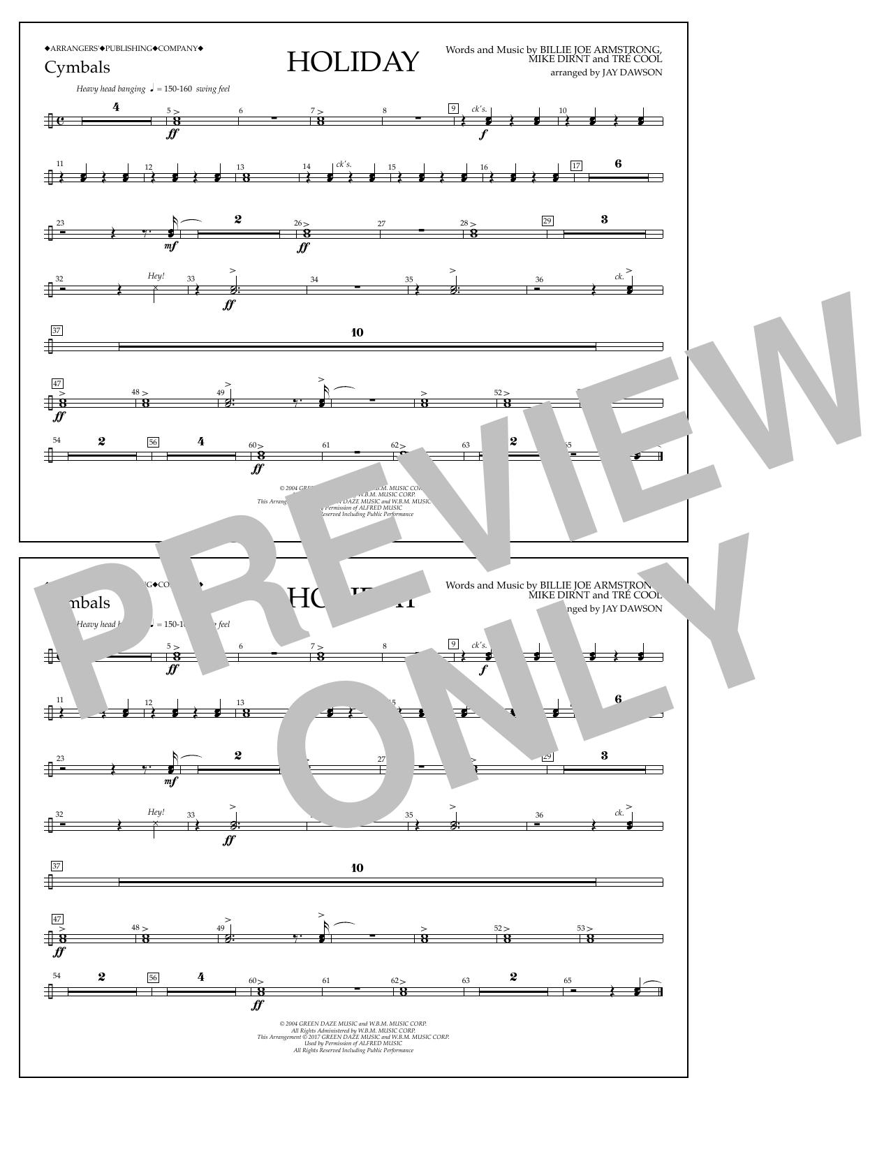 Holiday - Cymbals Sheet Music