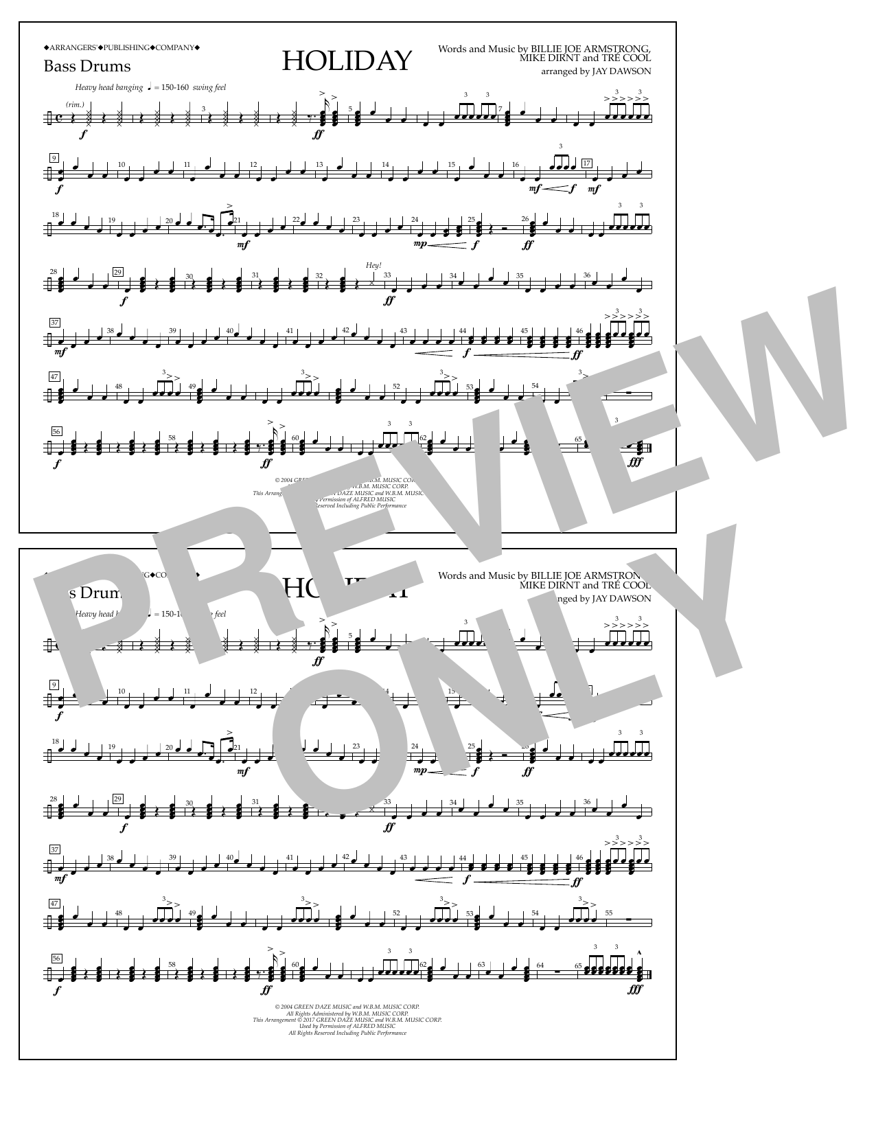Holiday - Bass Drum Sheet Music