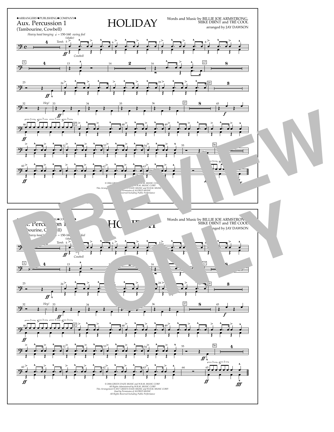 Holiday - Aux. Percussion 1 Sheet Music