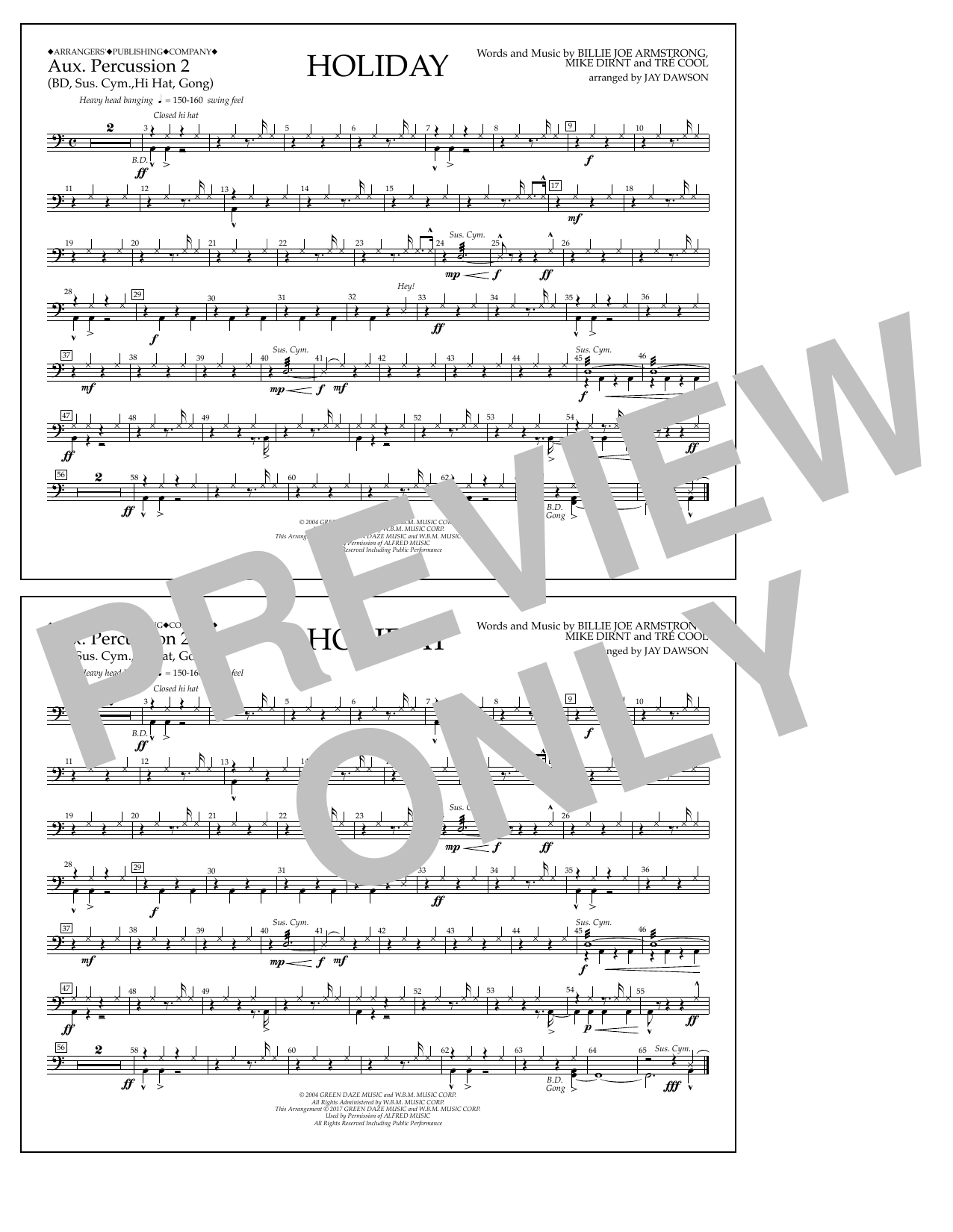 Holiday - Aux. Percussion 2 Sheet Music
