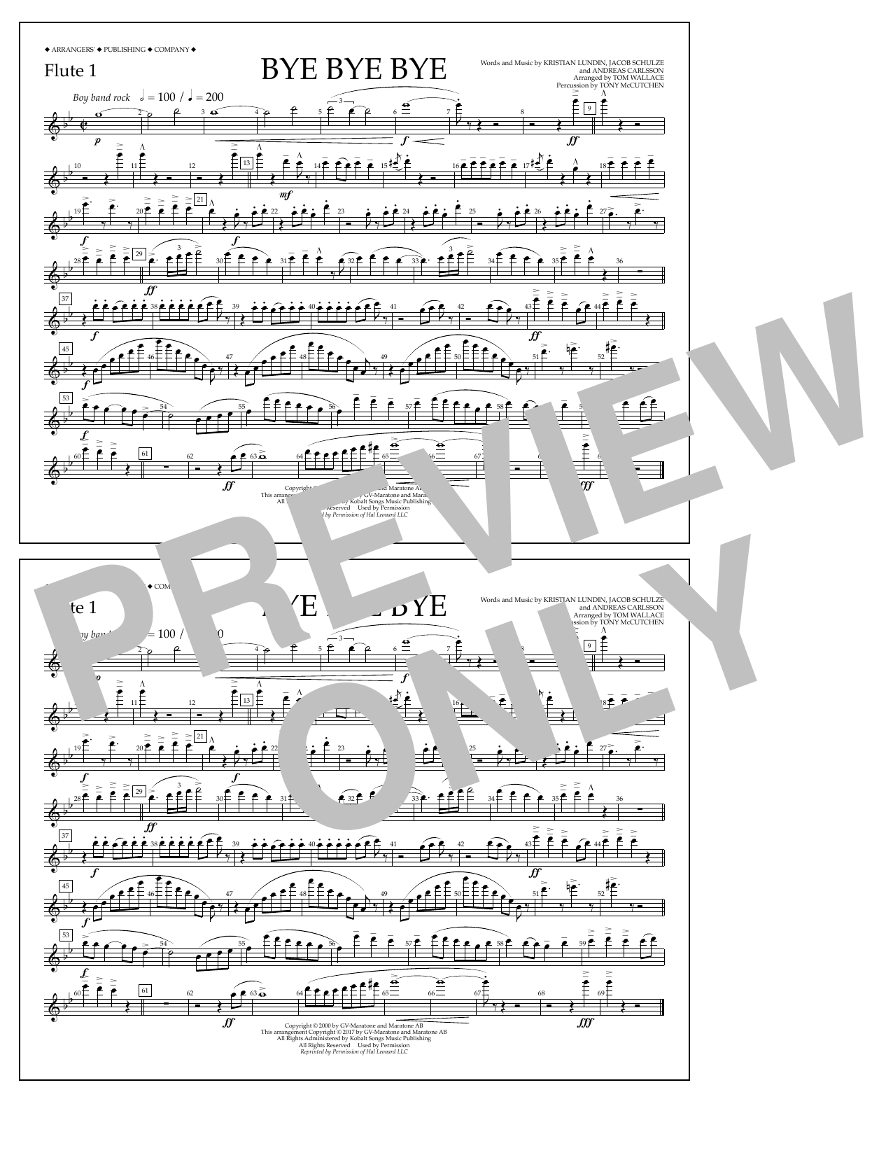 Bye Bye Bye - Flute 1 Sheet Music