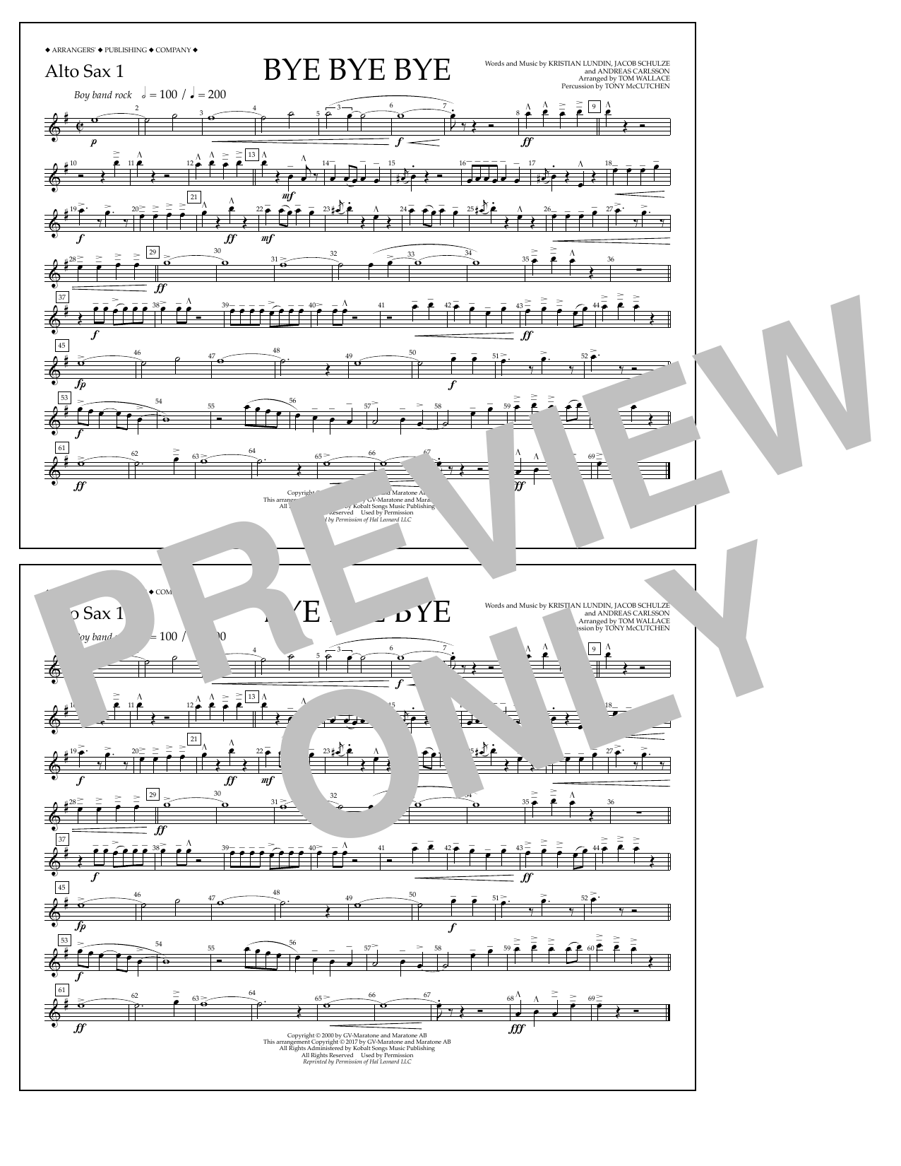 Bye Bye Bye - Alto Sax 1 Sheet Music