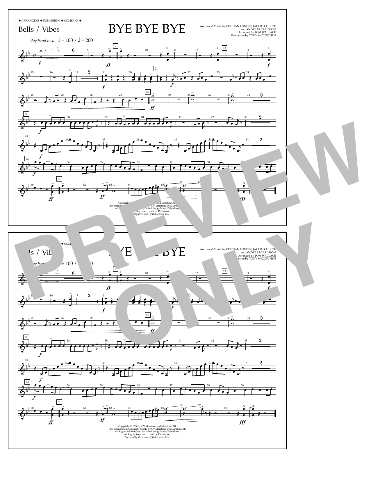 Bye Bye Bye - Bells/Vibes Sheet Music