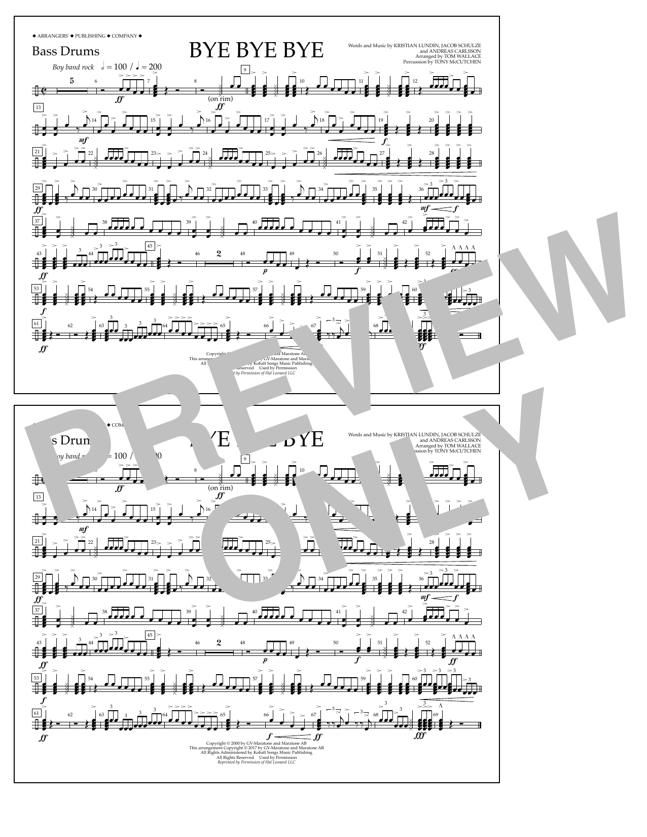 Bye Bye Bye - Bass Drums Sheet Music