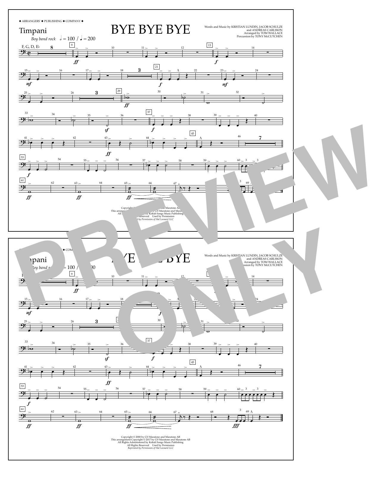 Bye Bye Bye Timpani By Andreas Carlsson Jake Carlsson Kristian Lundin Arrangers Publishing Company Prima Music