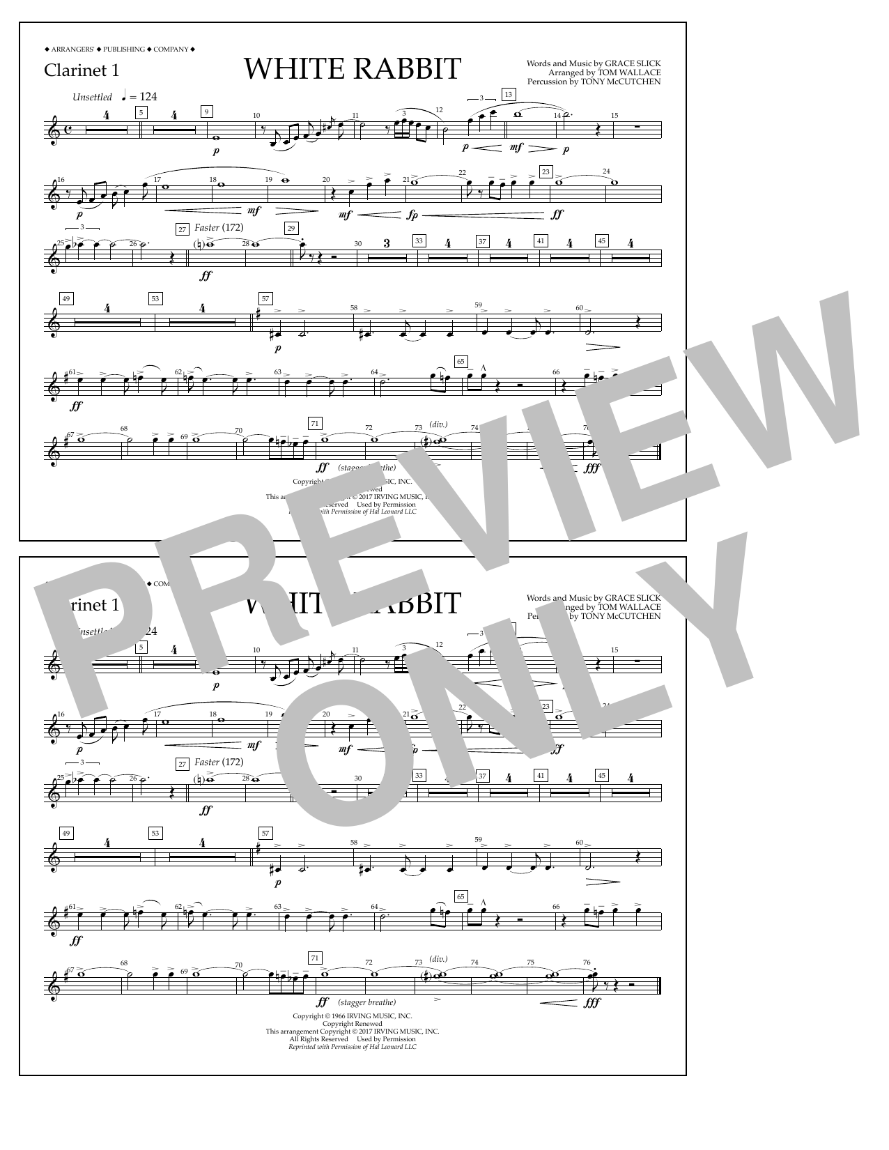 White Rabbit - Clarinet 1 Sheet Music