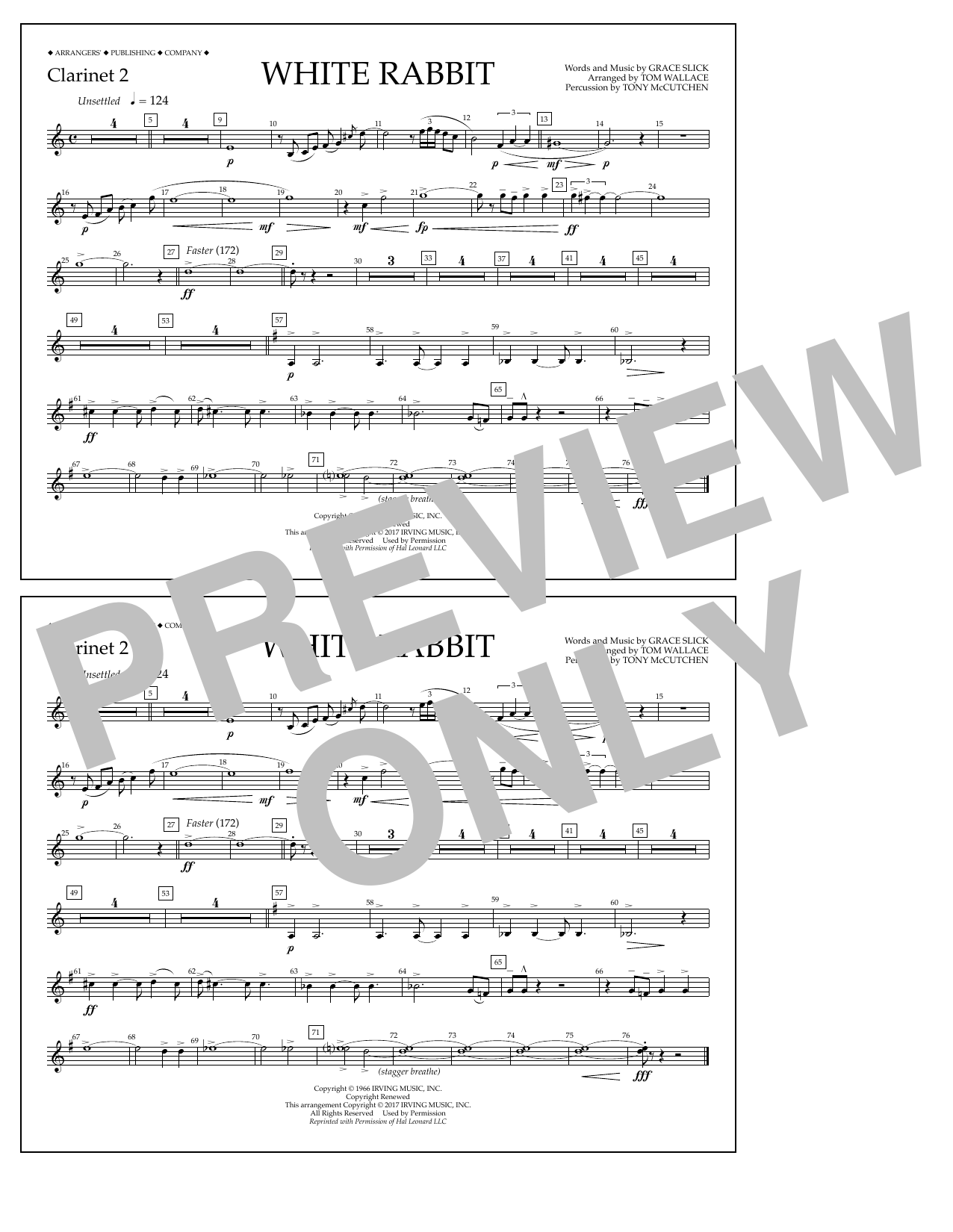 White Rabbit - Clarinet 2 Sheet Music
