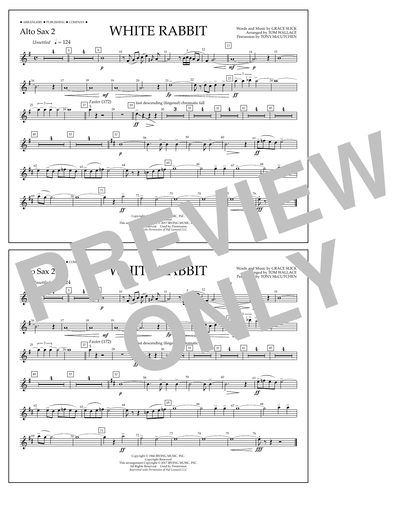 White Rabbit - Alto Sax 2 Sheet Music