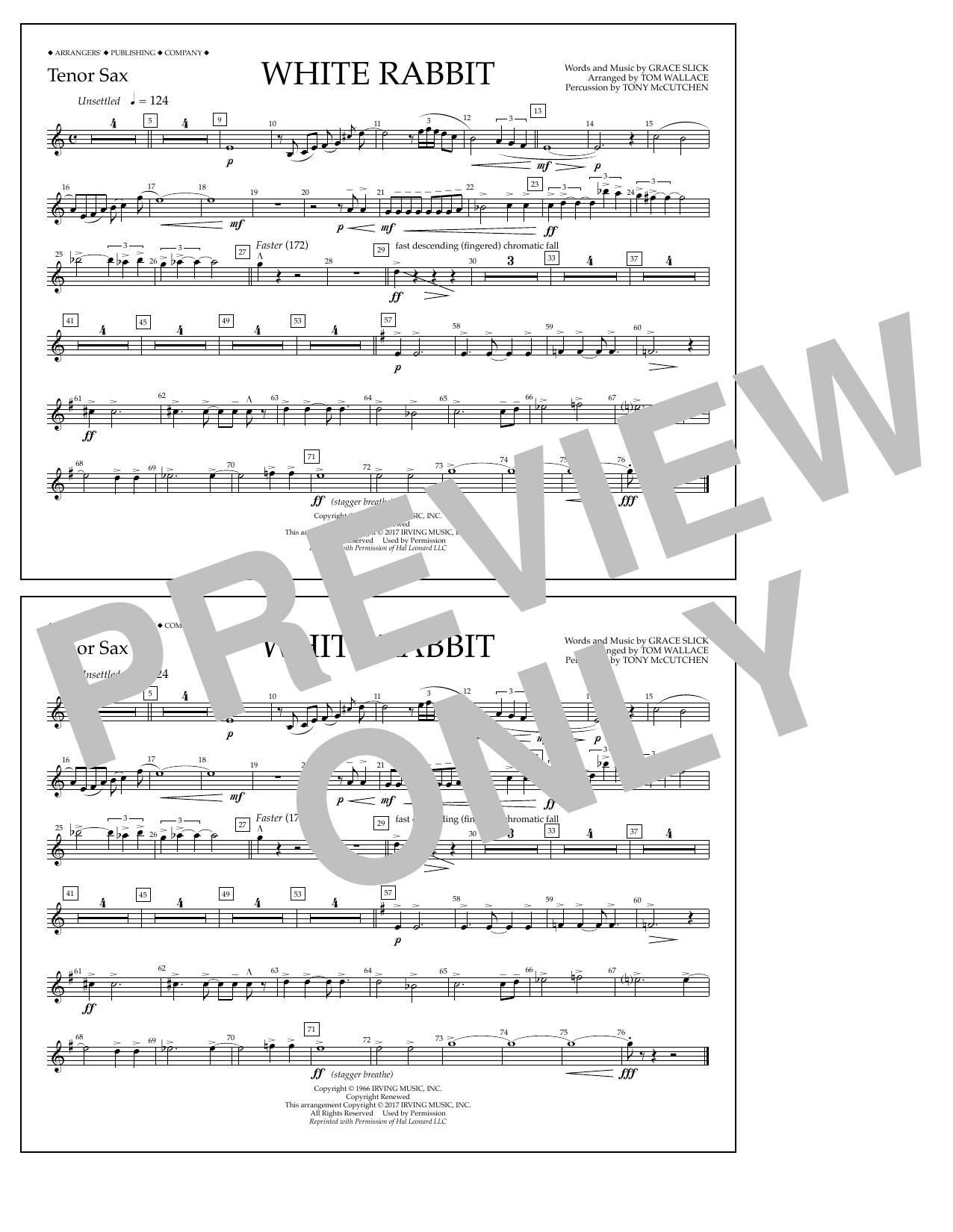 White Rabbit - Tenor Sax Sheet Music