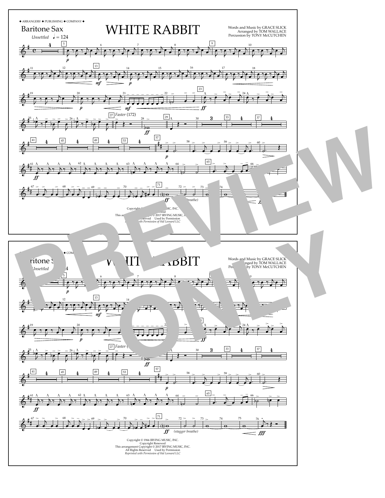 White Rabbit - Baritone Sax Sheet Music