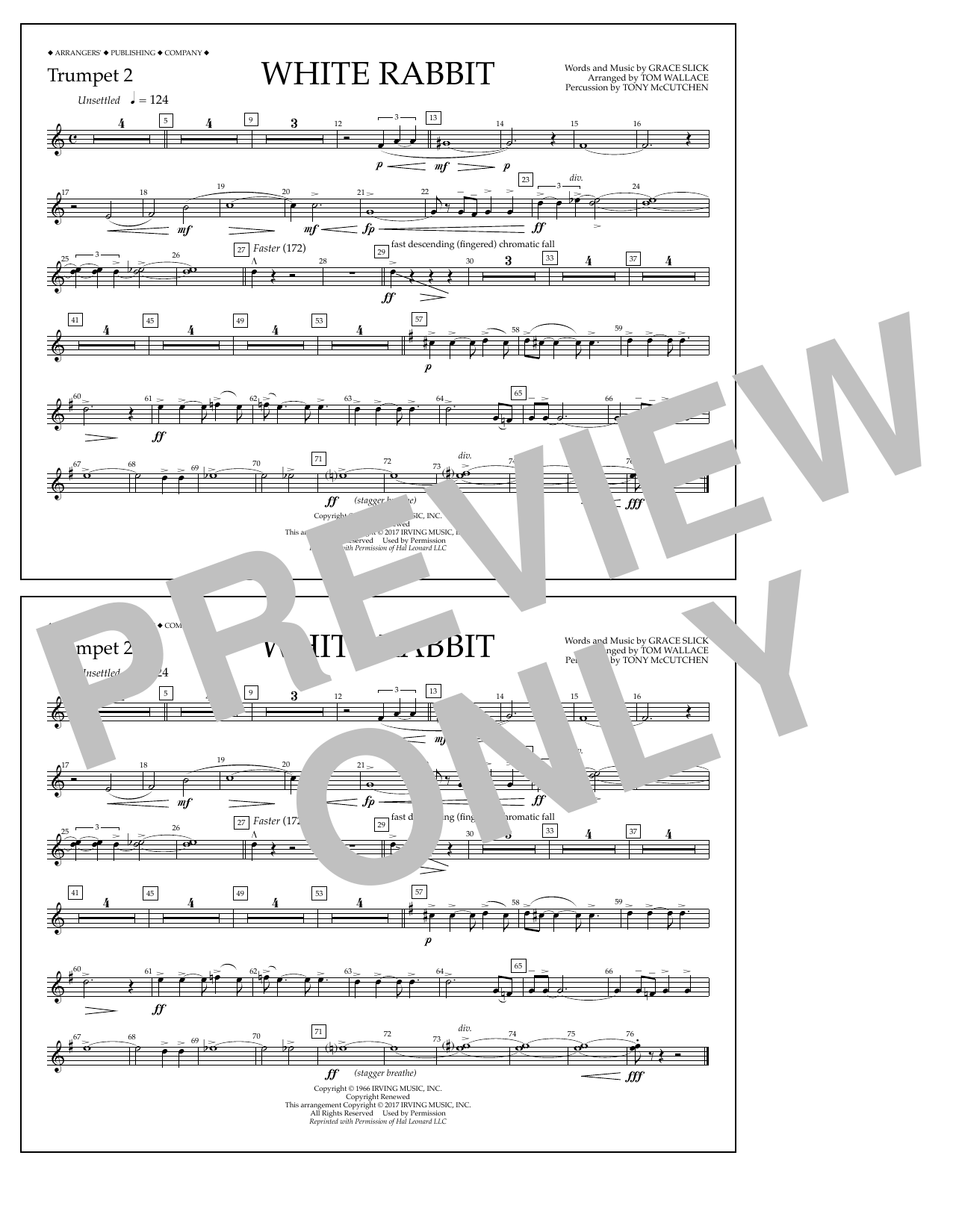 White Rabbit - Trumpet 2 Sheet Music