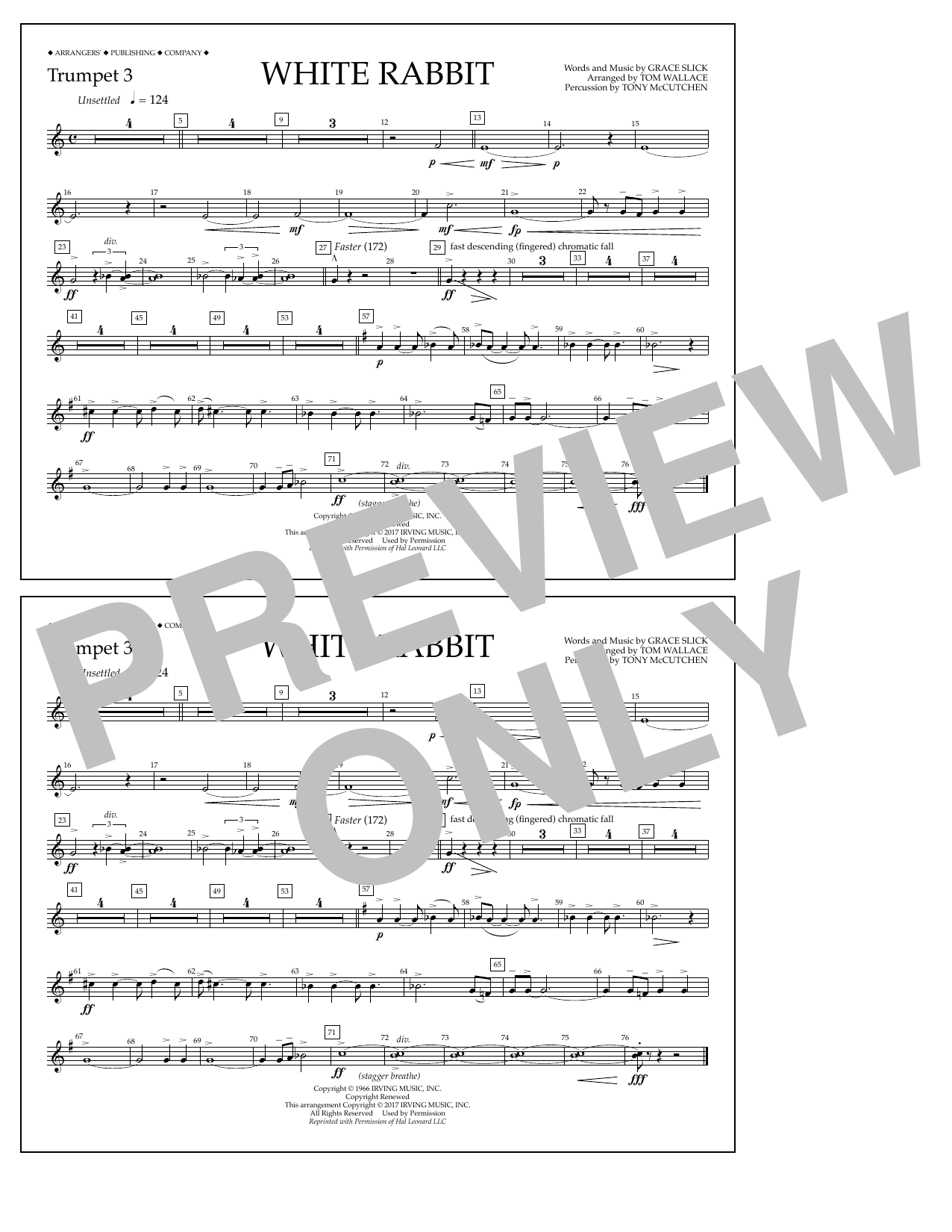 White Rabbit - Trumpet 3 Sheet Music