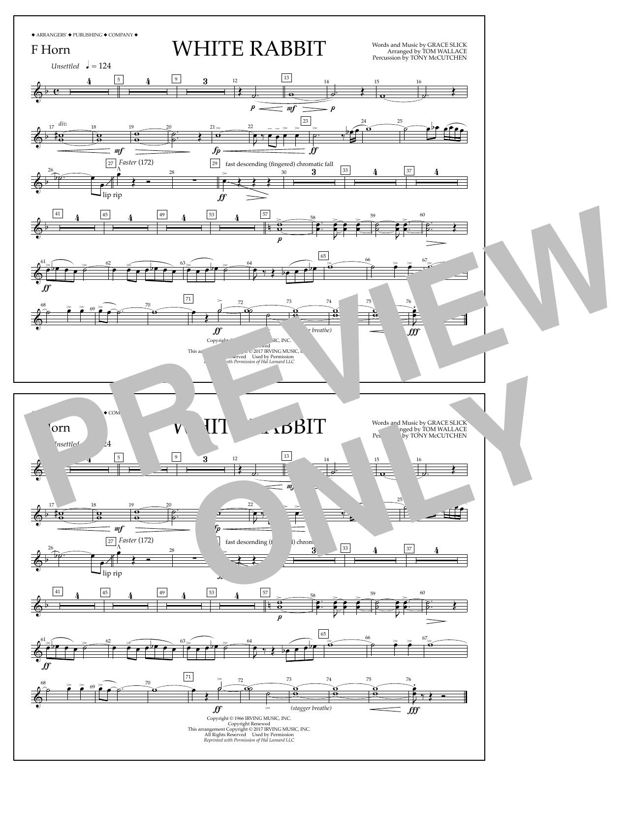 White Rabbit - F Horn Sheet Music