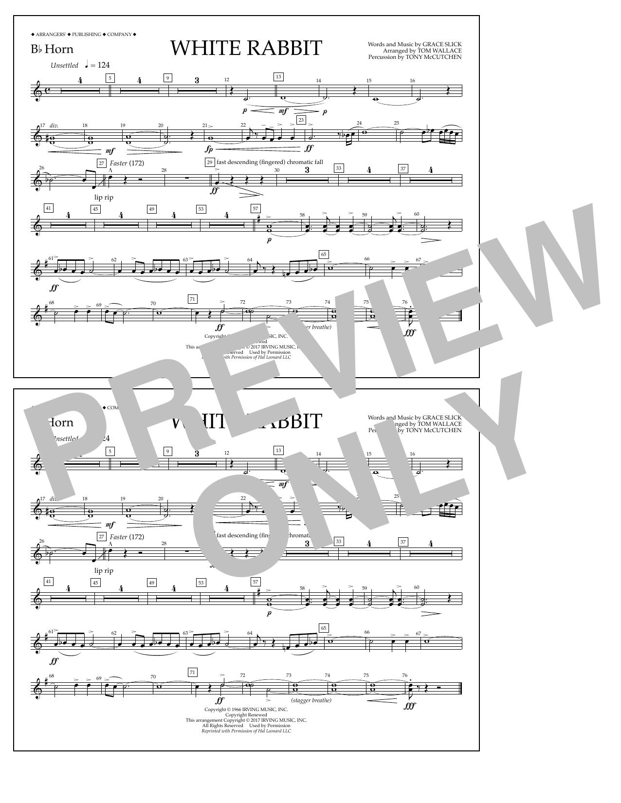 White Rabbit - Bb Horn Sheet Music