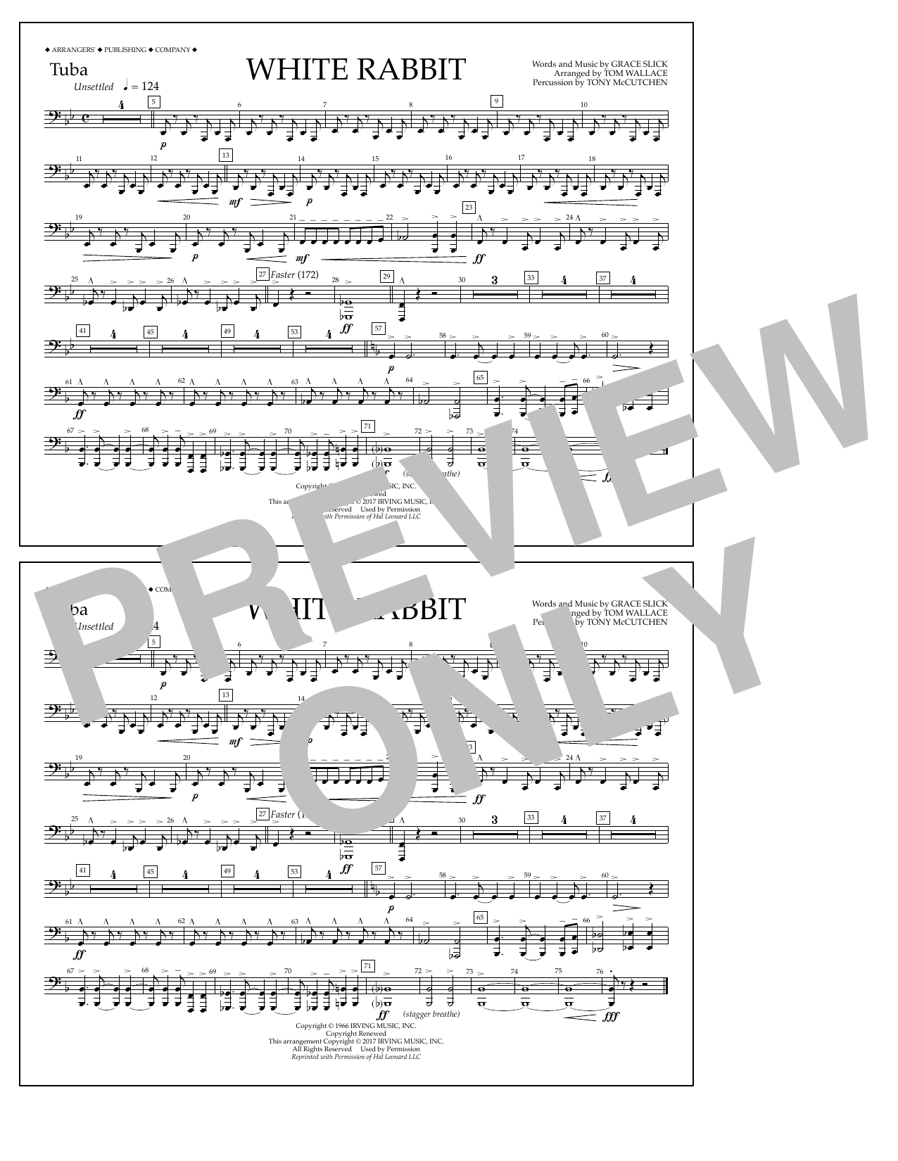 White Rabbit - Tuba Sheet Music
