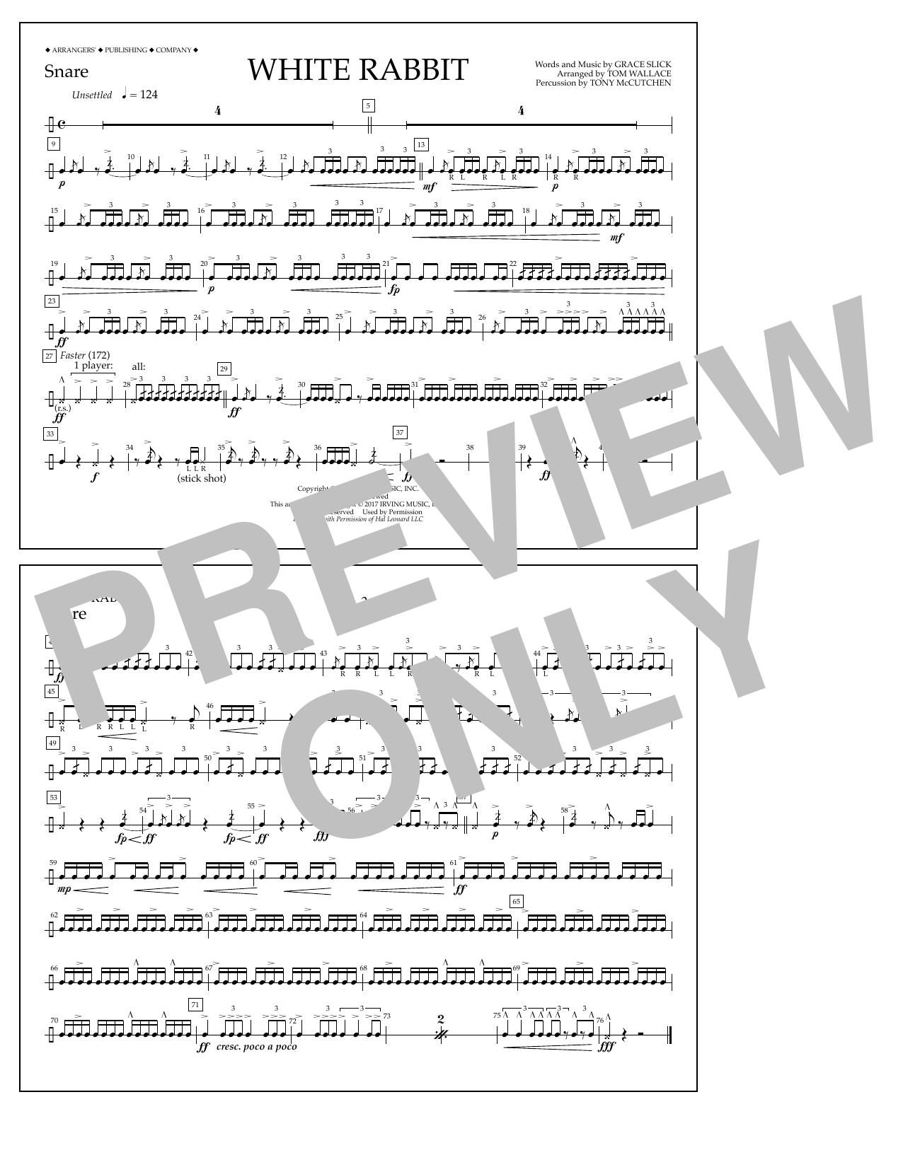White Rabbit - Snare Sheet Music