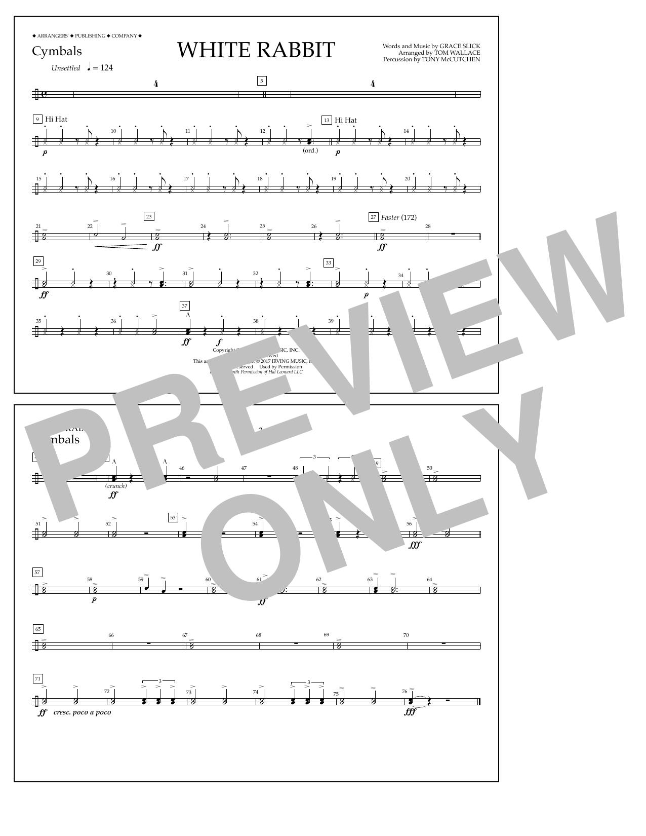 White Rabbit - Cymbals Sheet Music