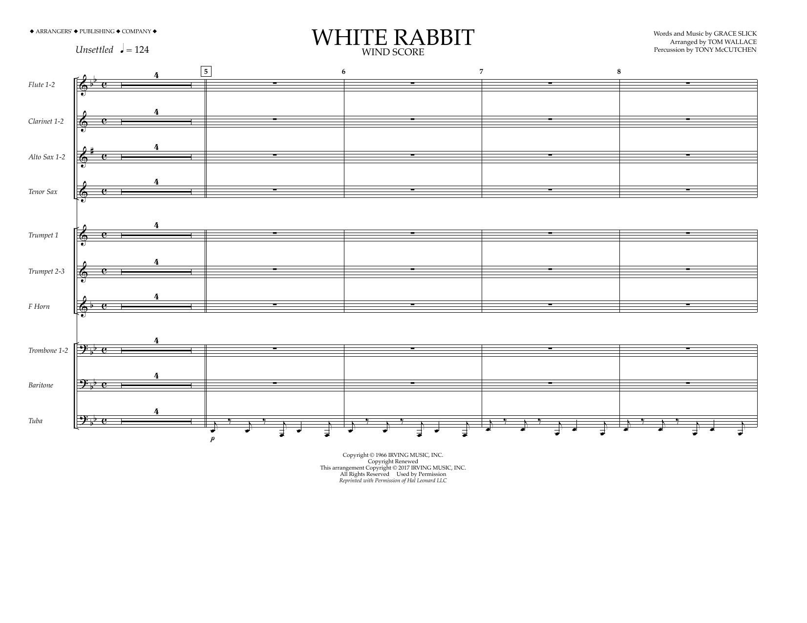 White Rabbit - Wind Score Sheet Music
