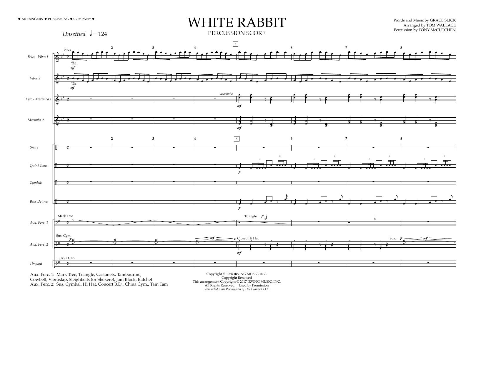White Rabbit - Percussion Score Sheet Music