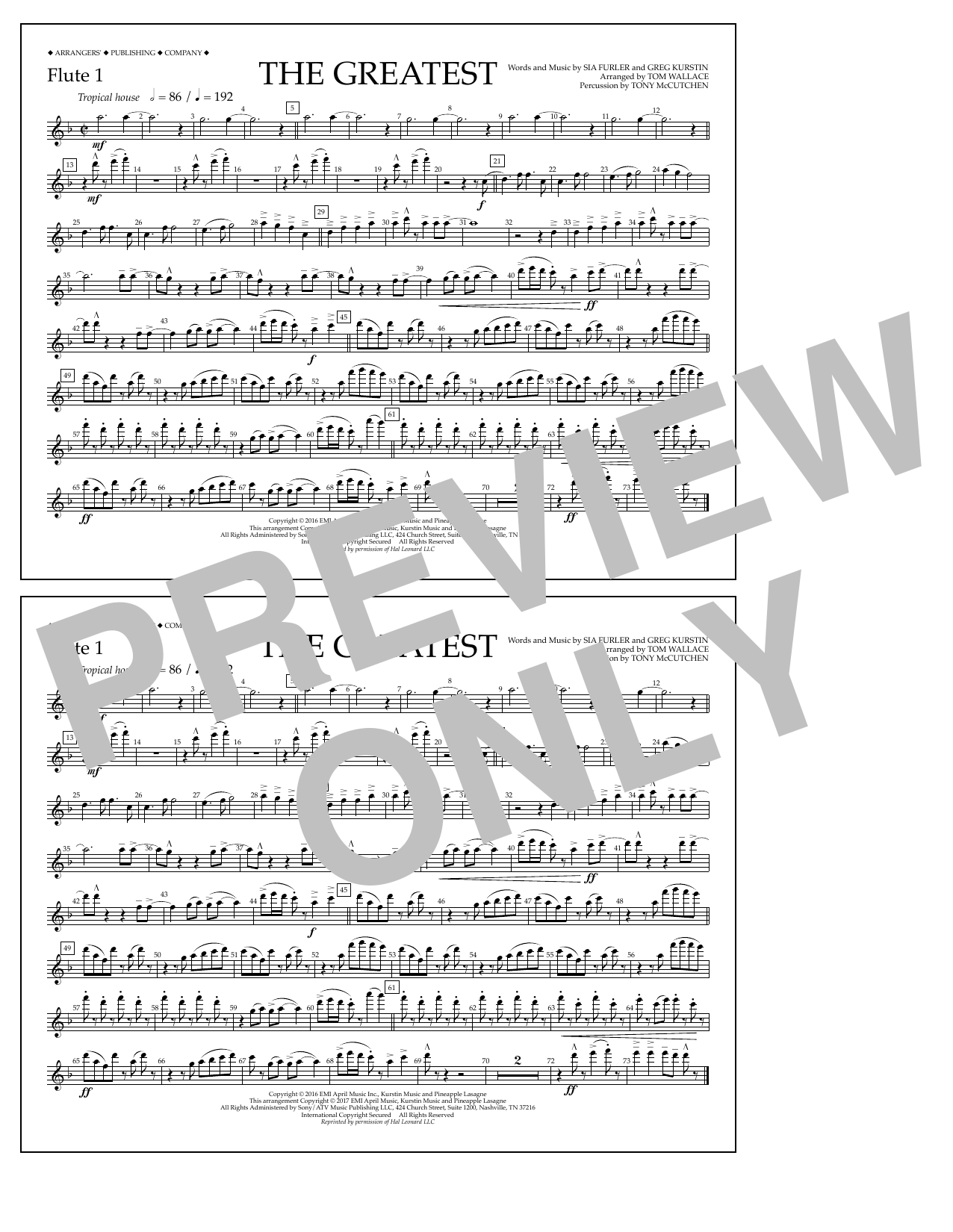 The Greatest - Flute 1 Sheet Music