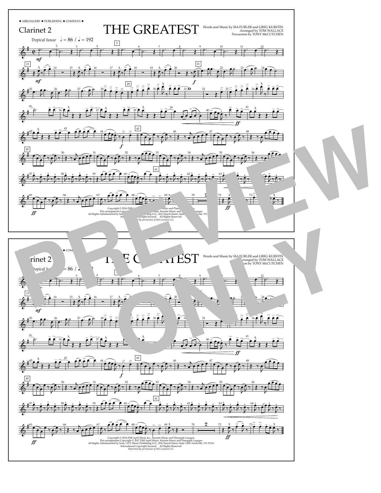 The Greatest - Clarinet 2 Sheet Music