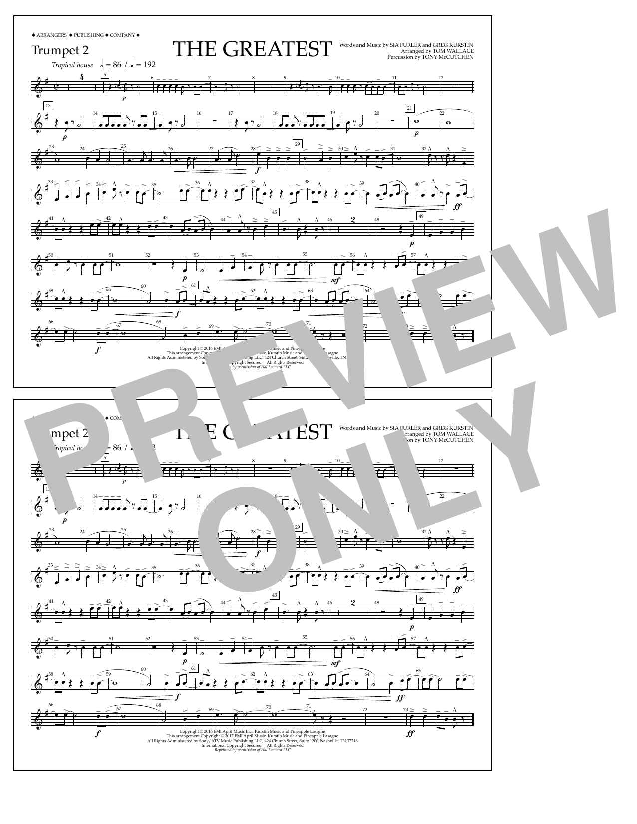 The Greatest - Trumpet 2 Sheet Music