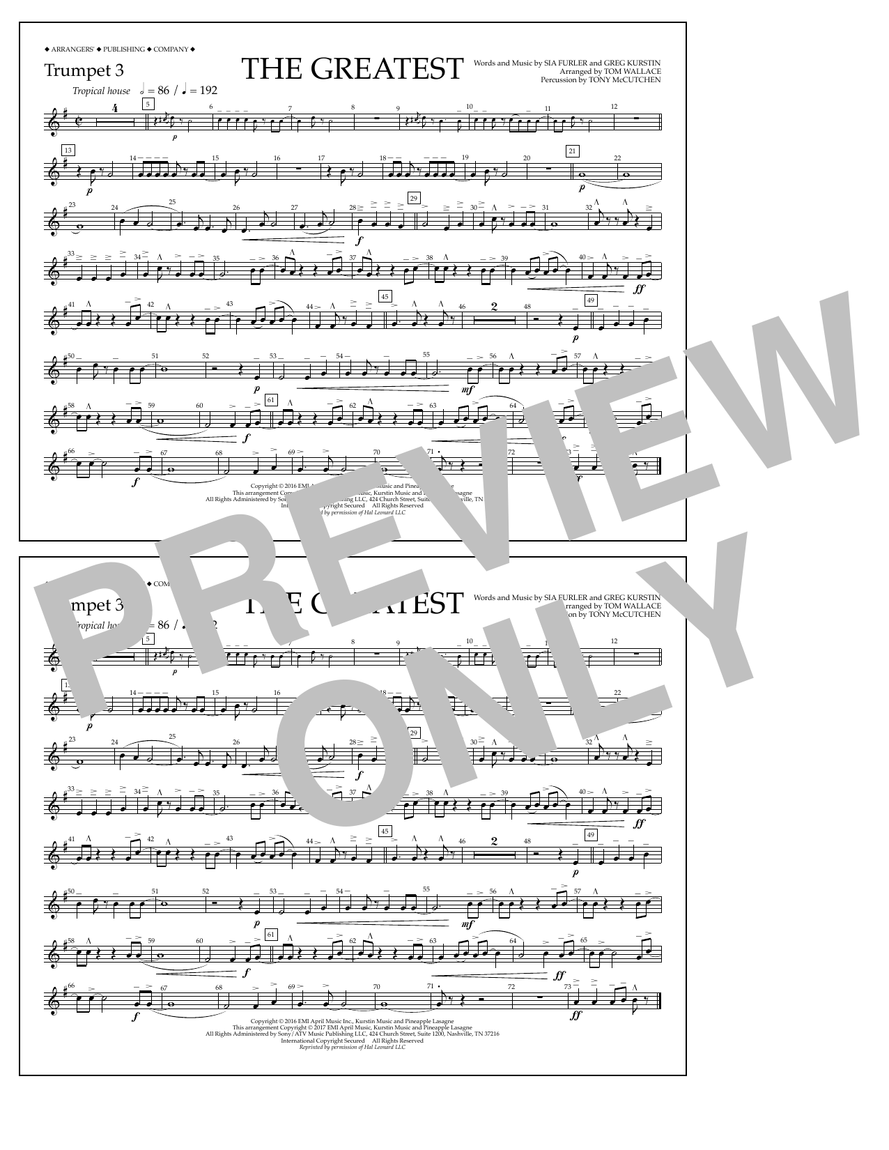 The Greatest - Trumpet 3 Sheet Music