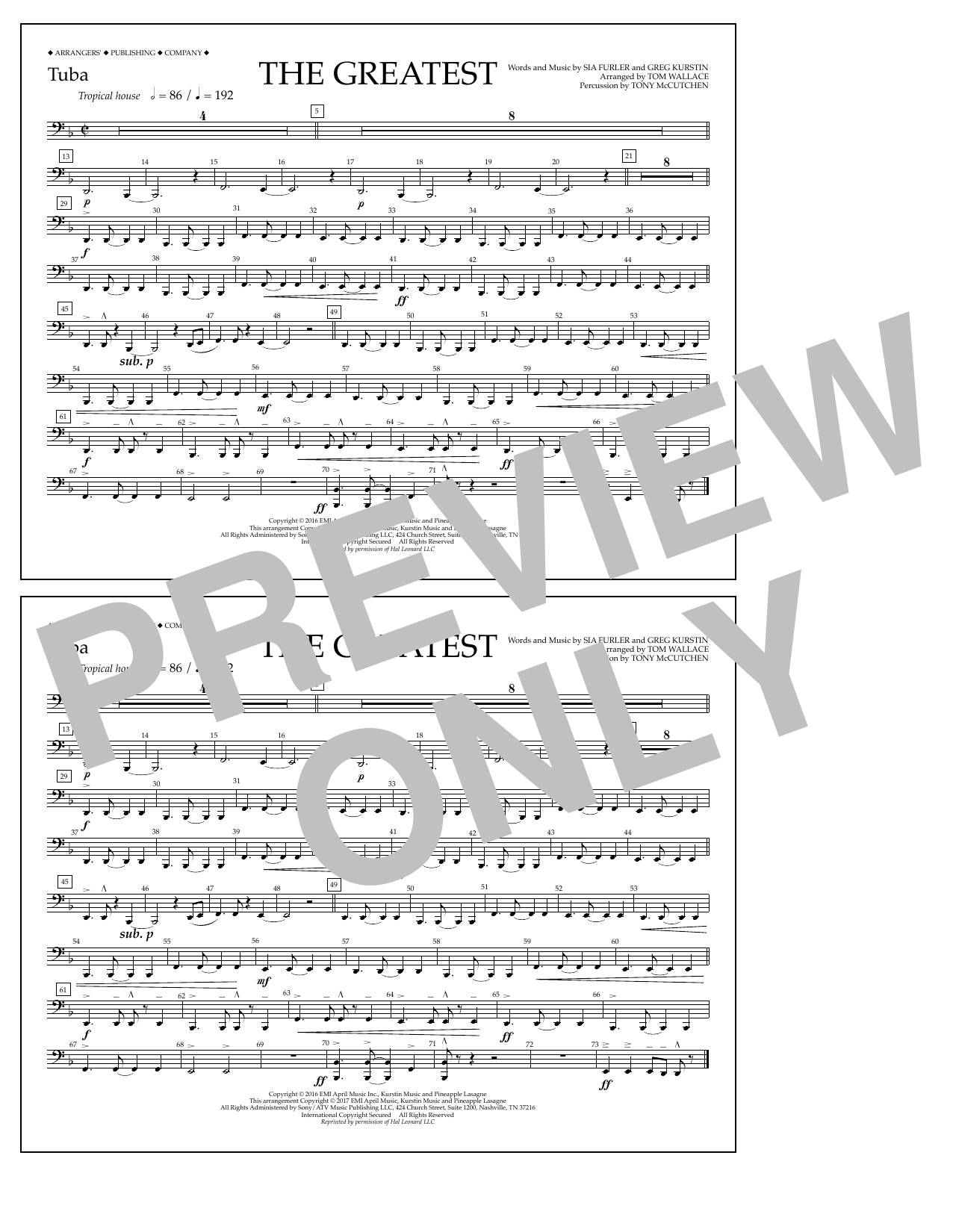 The Greatest - Tuba Sheet Music
